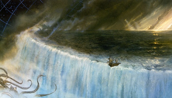 John Howe depicts the moment Cthulhu finally gets His tentacles on the HMS Richard Dawkins