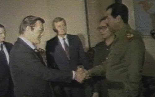 Here's the guy who had the patent for aspartame shaking hands with Saddam Hussein two years later. Funny old world, eh?