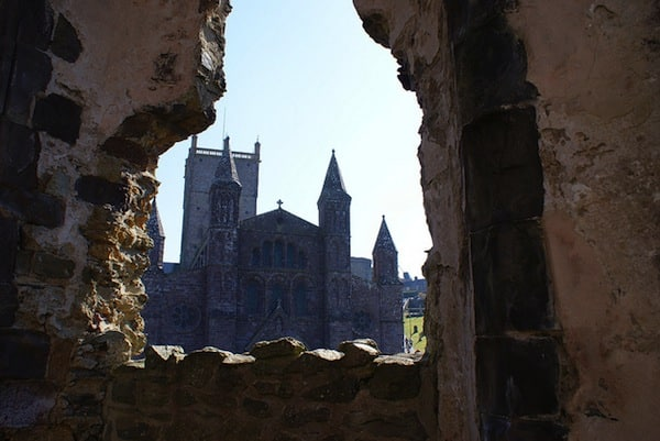 A view of St David's from the ruins.