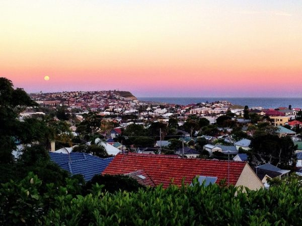 Midsummer's full moonrise as seen from my family home's backyard.